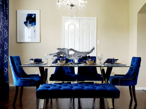 home dining room with blue chairs